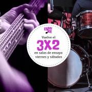 ESMUVA: Promoción 3x2 en salas de ensayo (desde 8€/h)