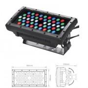 Proyector Profesional LED RGBW 8000lux@2m DMX512 o Autónomo.