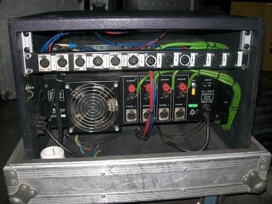 Etapa de potencia 4 canales, crosover 3 vias, rack flotante
