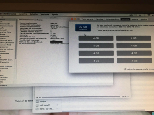 Mac Pro 3.1 2.80GHZ 8 Core 32GB RAM
