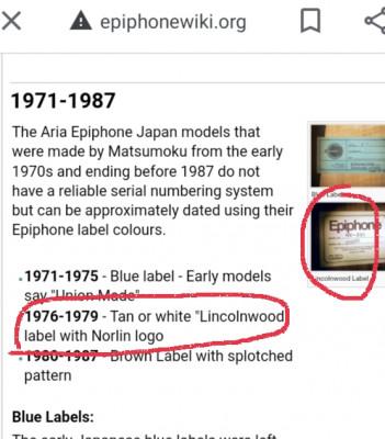 Epiphone JAPAN 1976-1979