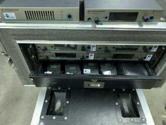 Rack 4u con 5 SISTEMAS INEARS Sennheiser IEM EW300G3 + COMBINER + ANTENA