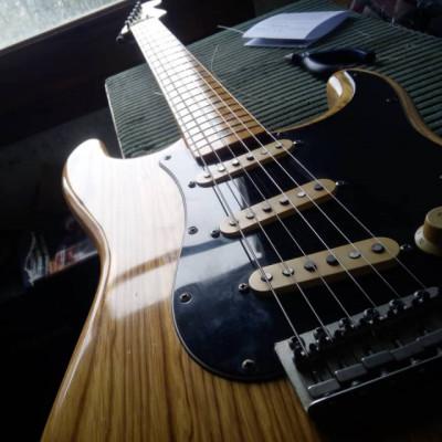 Stratocaster vintage JV: Fernandes stone logo FST-65N (1977-1980)