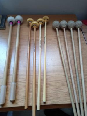 Baquetas de timbales, marimba y vibráfono