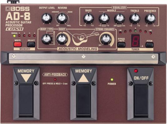 Procesador acústico BOSS AD8 por DI Box o Pre Amp para acústica