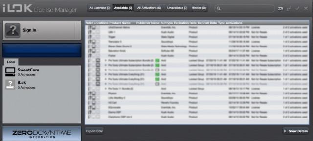 Licencias iLok (iZotope / Waves / Avid / Neo-Soul Keys / MOTU)