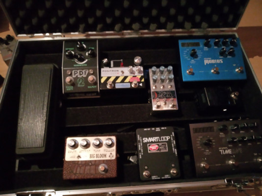 Pedalera completa. Strymon, Chase Bliss, Amplified Nation, Disaster Area....