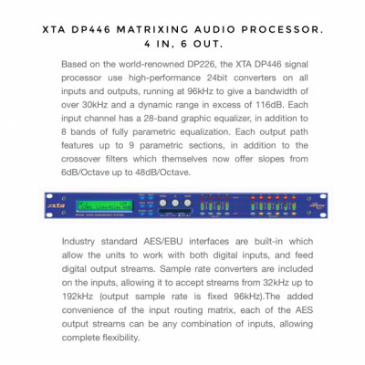 XTA DP446 Matrixing Audio Processor 4 In 6 Out (50% Dto.)