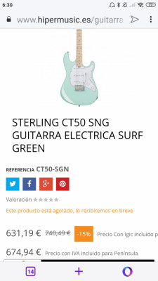 Cambio Stearling music man CT50 Cutlass