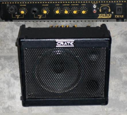 amplificador a baterias Crate TX15 y Yamaha VA10