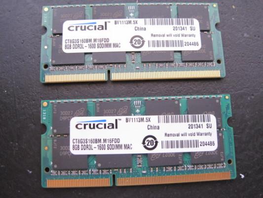Varios modulos de memoria RAM de 8Gb PC3-12800 Mac