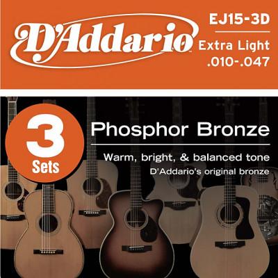 Cuerdas acústica 3 sets D'Addario EJ15-3D Extra Light .010- .047 Phosphor Bronze a estrenar