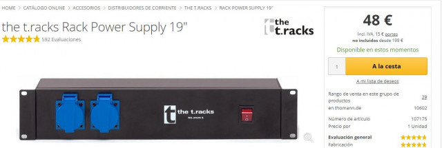 """the t.racks Rack Power Supply 19"""""""