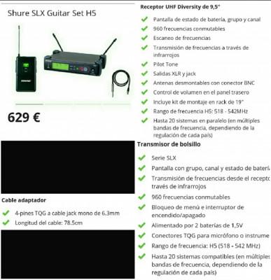 Inalámbrico SHURE SLX H5