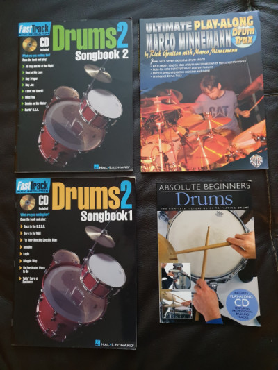 DRUMS SONGBOOKS y PLAY ALONG 4 libros
