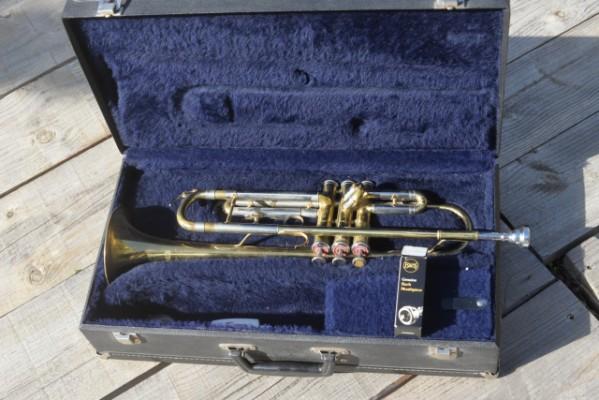 Trompeta marca Sonora con estuche rígido y 2 boquillas
