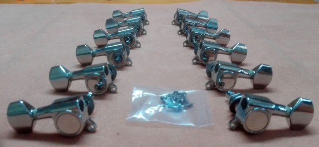 Clavijeros cromados tipo Schaller 3+3, 6L o 6R