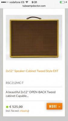Pantalla TAD tweed 212 jensen c12n rebaja!