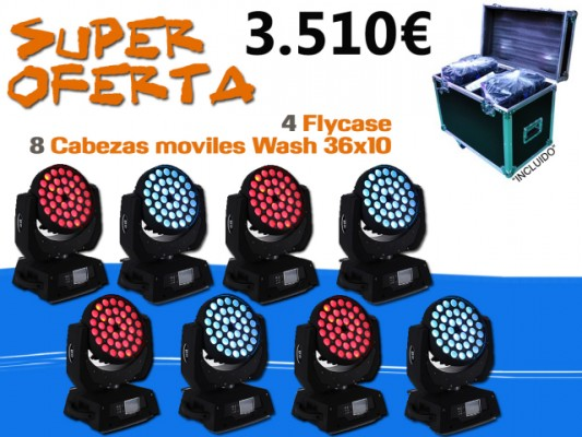 Pack Cabeza Mobil Wash 36x10 con Flycase