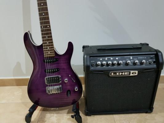 Ibanez SA 260 FM purple + Line 6 spider IV