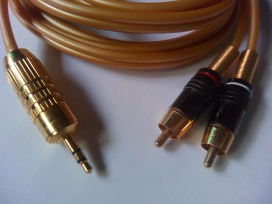 Cable RCA a minijack 3,5 mm 2mtrs. Digital de fibra optica conectores Oro 24K Marca RSP Acustic. Nuevo
