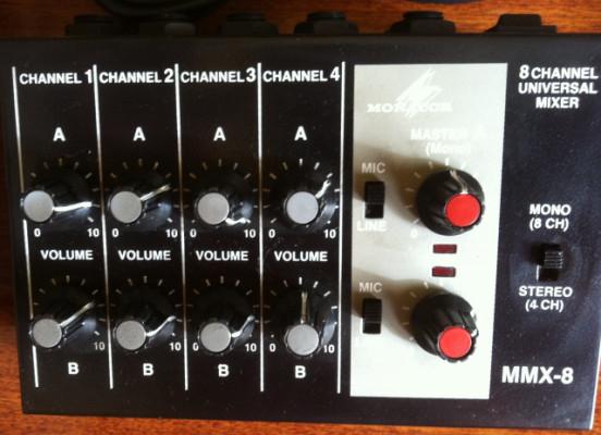Mixer Monacor 8 canales mono o 4 estereos