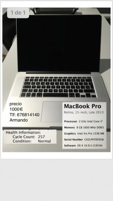 Macbook pro retina 15˝ late 2013