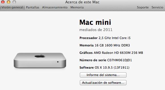 Mac Mini Mid2011 i5 2.5ghz 16Gb ram 250SSD