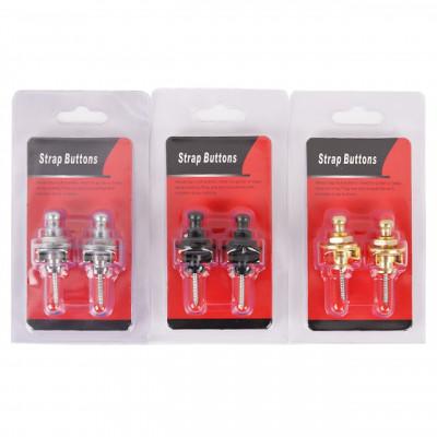 Strap lock,guitarra,bajo,Schaller ® style,Set de 2 botones para correa cromados o negros.