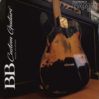 BB Custom Guitars-Telecaster Heavy Relic Black–Sunburst