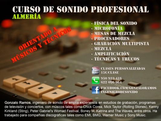 Clases de Sonido Profesional. Teóricas y prácticas. Personalizadas.