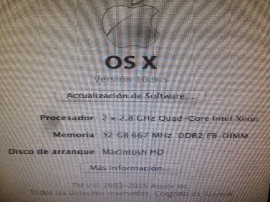 MacPro 3.1 2x2,8 ghz quad core early 2008 32 gb ram
