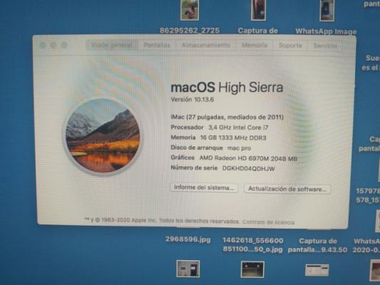 Imac i7 (2011) 16 gb RAM(1 tb hdd/128gb ssd)