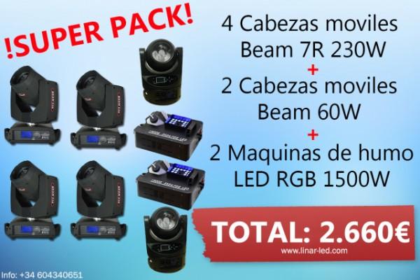 4 BEAM 7r, 2 Bean 60w, 2 maquinas de humo LED