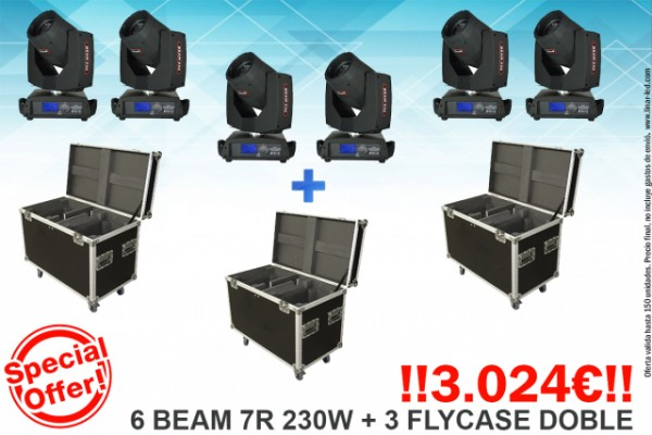 !SUPER PACK!  6 Cabezas Beam 7R 230W + Flycase