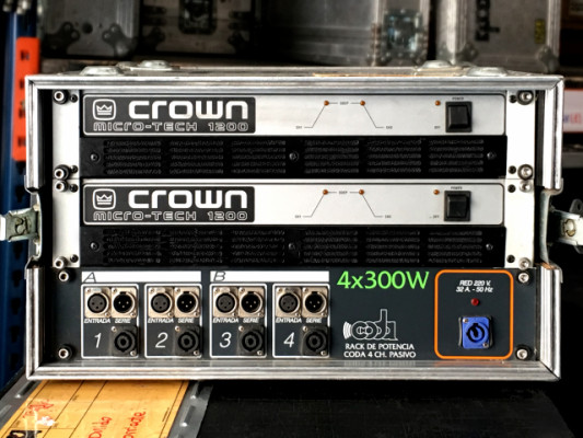 Rack 2 etapas Crown MicroTech 1.200 con patch
