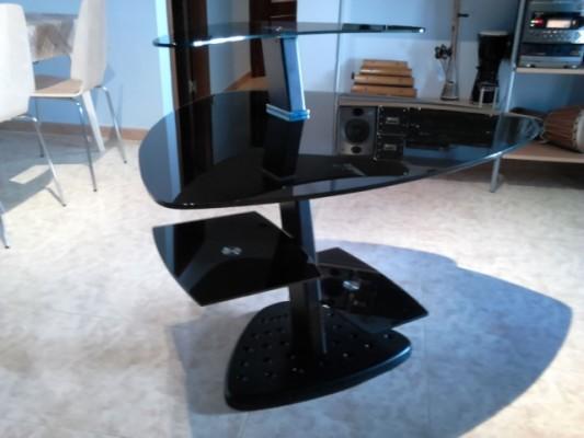 Mesa de estudio de acero y cristal templado