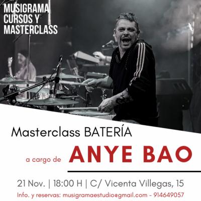 Masterclass BATERÍA por ANYE BAO en Madrid (21 de Noviembre)