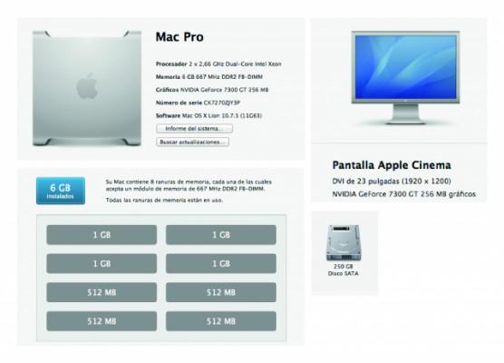 "2 Mac Pro 1.1 / 2,66 4 núcleos + 2 Pantallas Apple Cinema 23"""