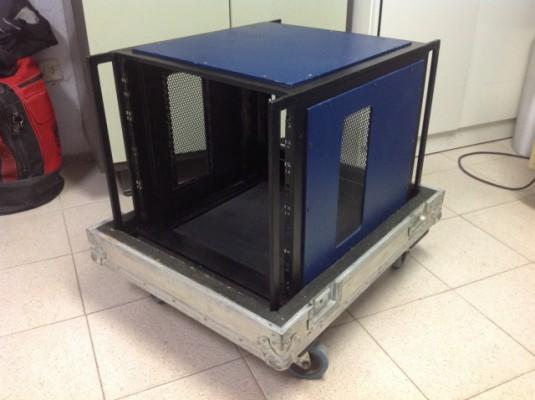 Rack metálico 10 Unidades con Flight-Case para etap. de potencia
