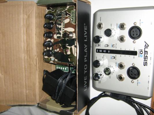 distorcionador mxr con alimentador y targeta de sonido