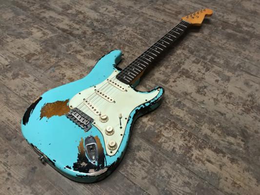 REBAJA Stratocaster Relic Seafoam Green over Burst