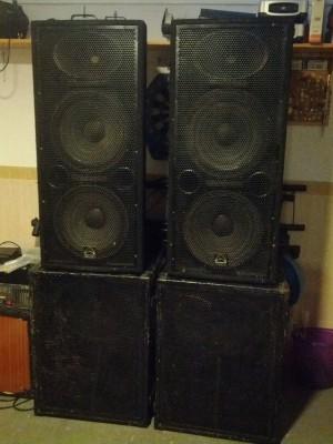 Equipo de sonido 3400wrms Tops Wharfedale + subs RCF + amplificación Musicson.