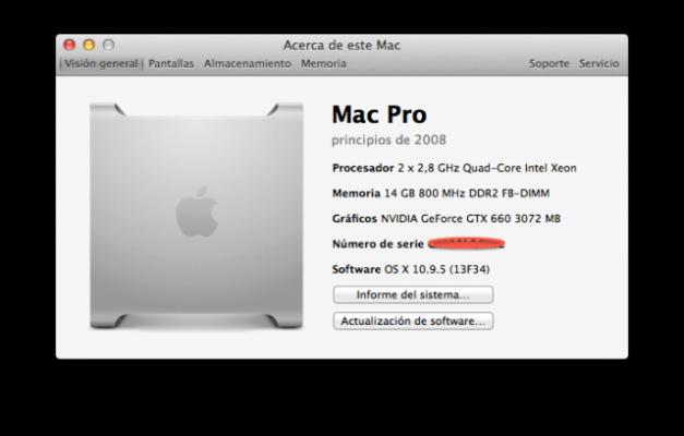 Mac Pro 3,1 (8 NÚCLEOS) 2x2.8 GHz Quad-core Xeon 26 GB RAM 800MHz