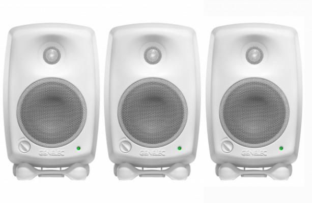 3 x Altavoces Genelec 8020 CWW (Blancos) + Pies de monitores