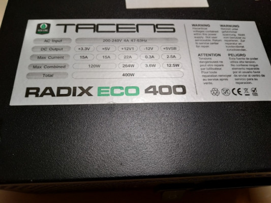 FUENTE DE ALIMENTACION CPU RADIX ECO 400