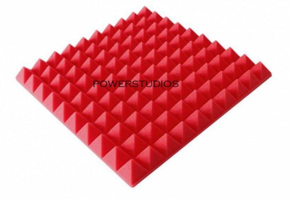Promoción-10 paneles akustik pyramid color rojo ,48x48x 4,5cm Dale color a tu sala+envío incluido