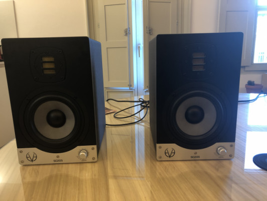 2 monitores evesc205, interfase scarlett, RCA y 2 cables jack