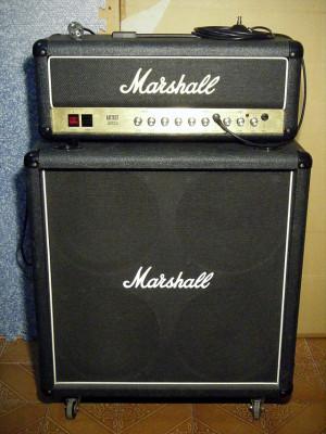 """Cabezal Marshall Artist 3023 + Marshall 4x12"""" (UK, 80s) + pedal cambio canal"""