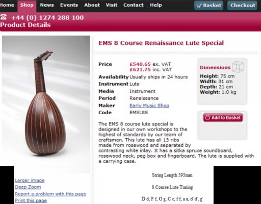 Laud renacentista de 8 órdenes de la 'Early Music Shop' (Reino Unido)
